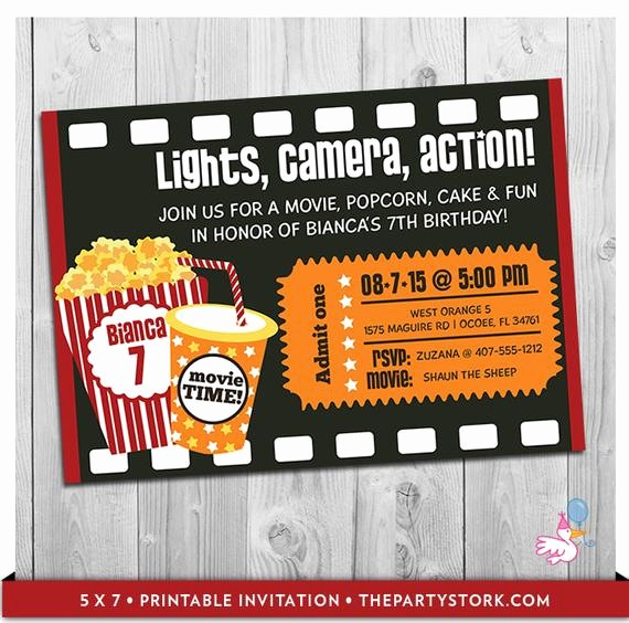 Movie themed Invitation Template Free Elegant Movie Party Invitation Printable Boys or Girls Movie