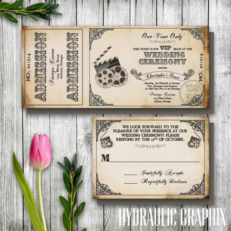 Movie themed Invitation Template Free Elegant Movie themed Wedding Invitation Templates