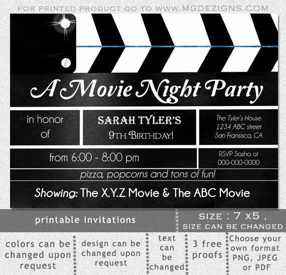 Movie themed Invitation Template Free Elegant Printable Movie Clapboard Movie Night Birthday Party