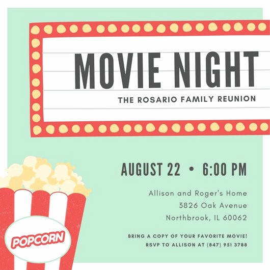 Movie themed Invitation Template Free Fresh Customize 646 Movie Night Invitation Templates Online Canva