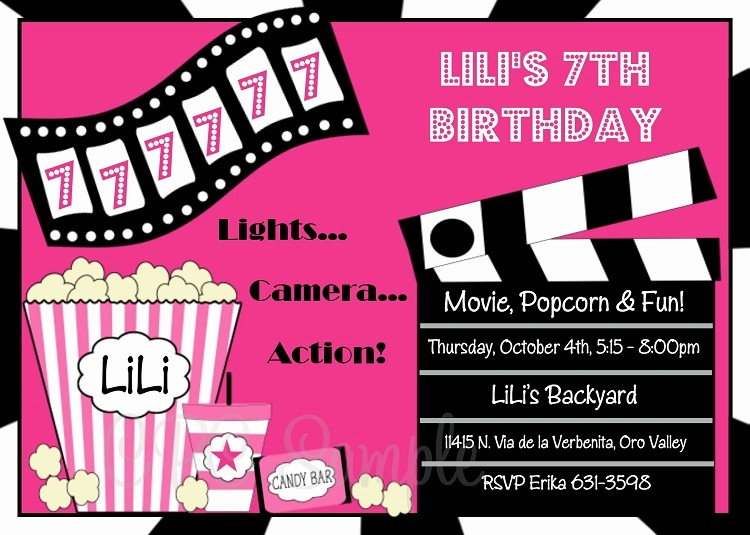 Movie themed Invitation Template Free Fresh Movie Birthday Invitations Printable or Printed