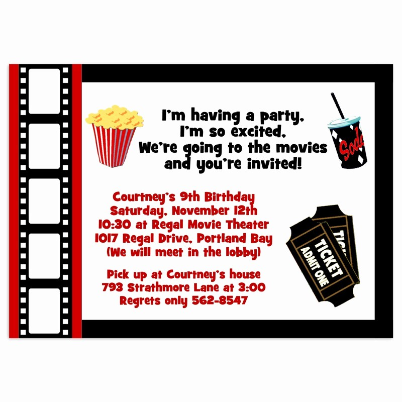 Movie themed Invitation Template Free Fresh Movie Party Invitations Birthday Invitation Printed Party