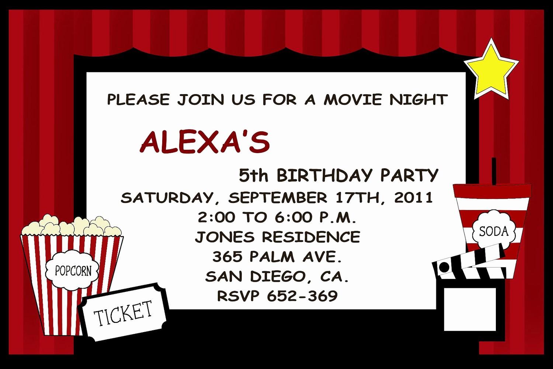 Movie themed Invitation Template Free Inspirational Hollywood Invitations Templates Free
