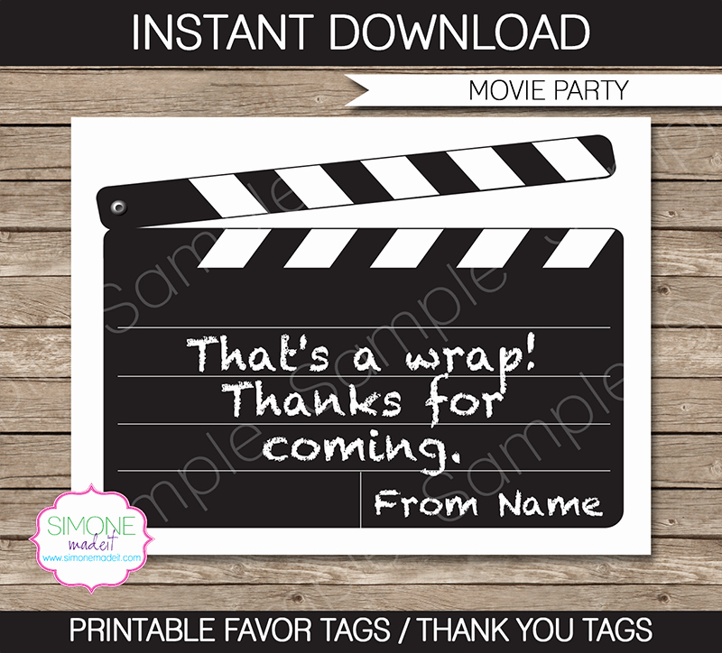 Movie themed Invitation Template Free Inspirational Movie Party Favor Tags Thank You Tags