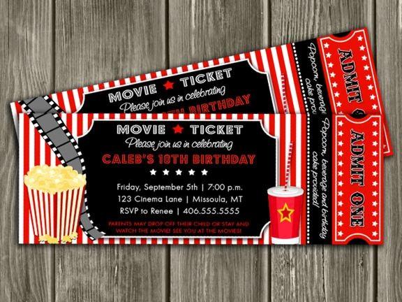 Movie themed Invitation Template Free Inspirational Printable Movie Ticket Birthday Invitation