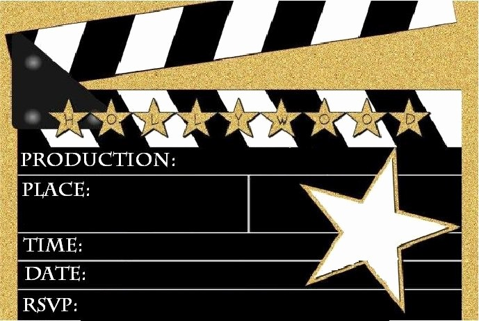 Movie themed Invitation Template Free Lovely Hollywood Party Invitations Templates