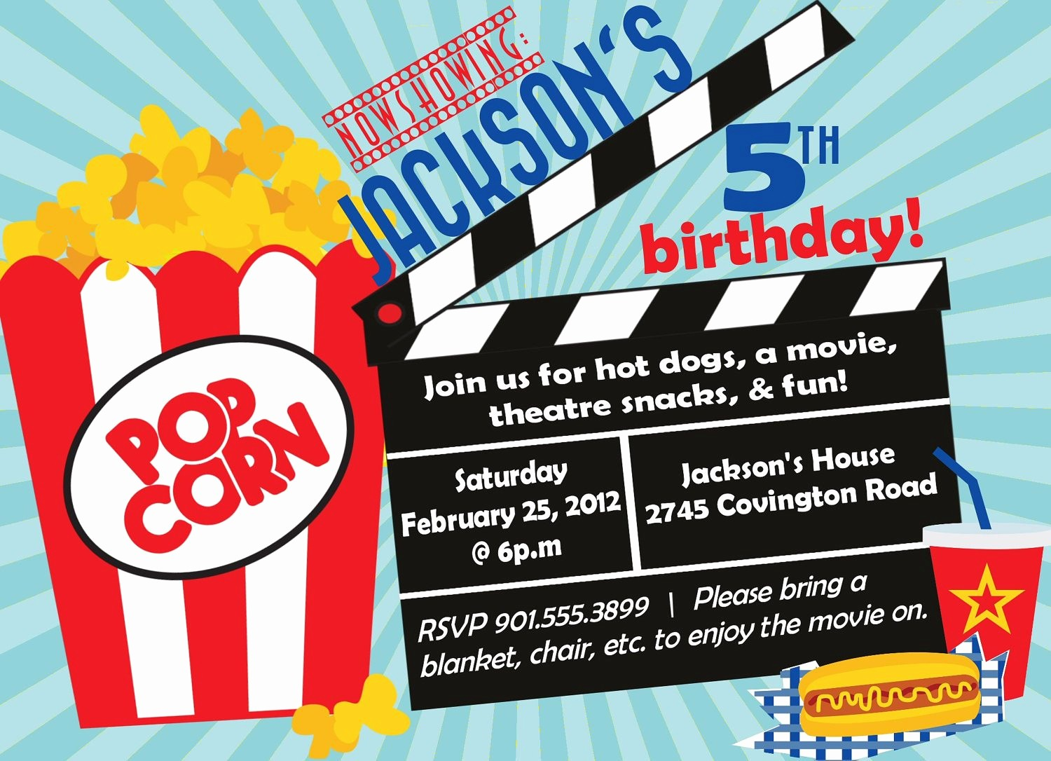 Movie themed Invitation Template Free Lovely Movie Birthday Party Invitation Boy Birthday Invitation