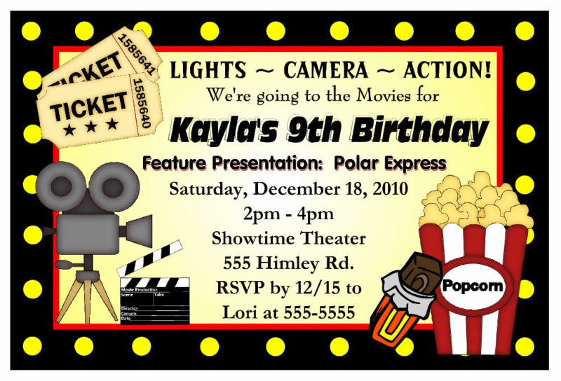 Movie themed Invitation Template Free Lovely Movie Night Birthday Party Invitations Hollywood