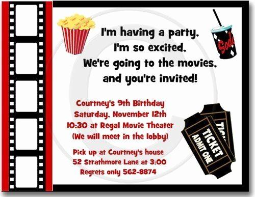 Movie themed Invitation Template Free Luxury Movie Night Birthday Party Invitations Set Of 20 by