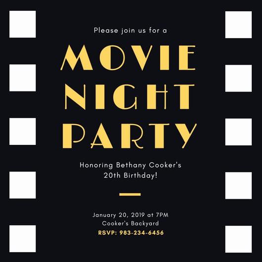 Movie themed Invitation Template Free Unique Customize 646 Movie Night Invitation Templates Online Canva