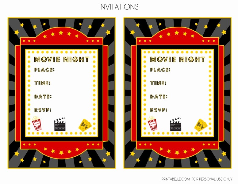 Movie themed Invitation Template Free Unique Free Movie Night Party Printables by Printabelle