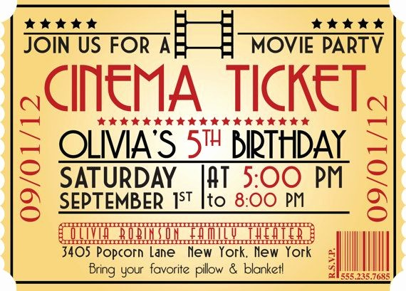 Movie themed Invitation Template Free Unique Free Printable Kids Birthday Party Invitations Templates