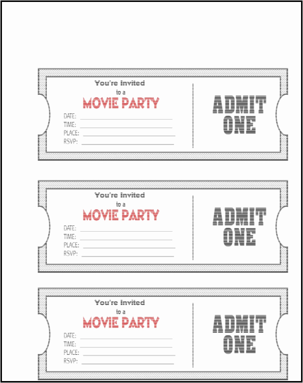 admit one ticket template example
