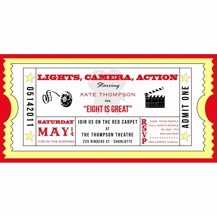 Movie Ticket Template Free Printable Fresh Movie Ticket Cinema Drive In Birthday Party Printable