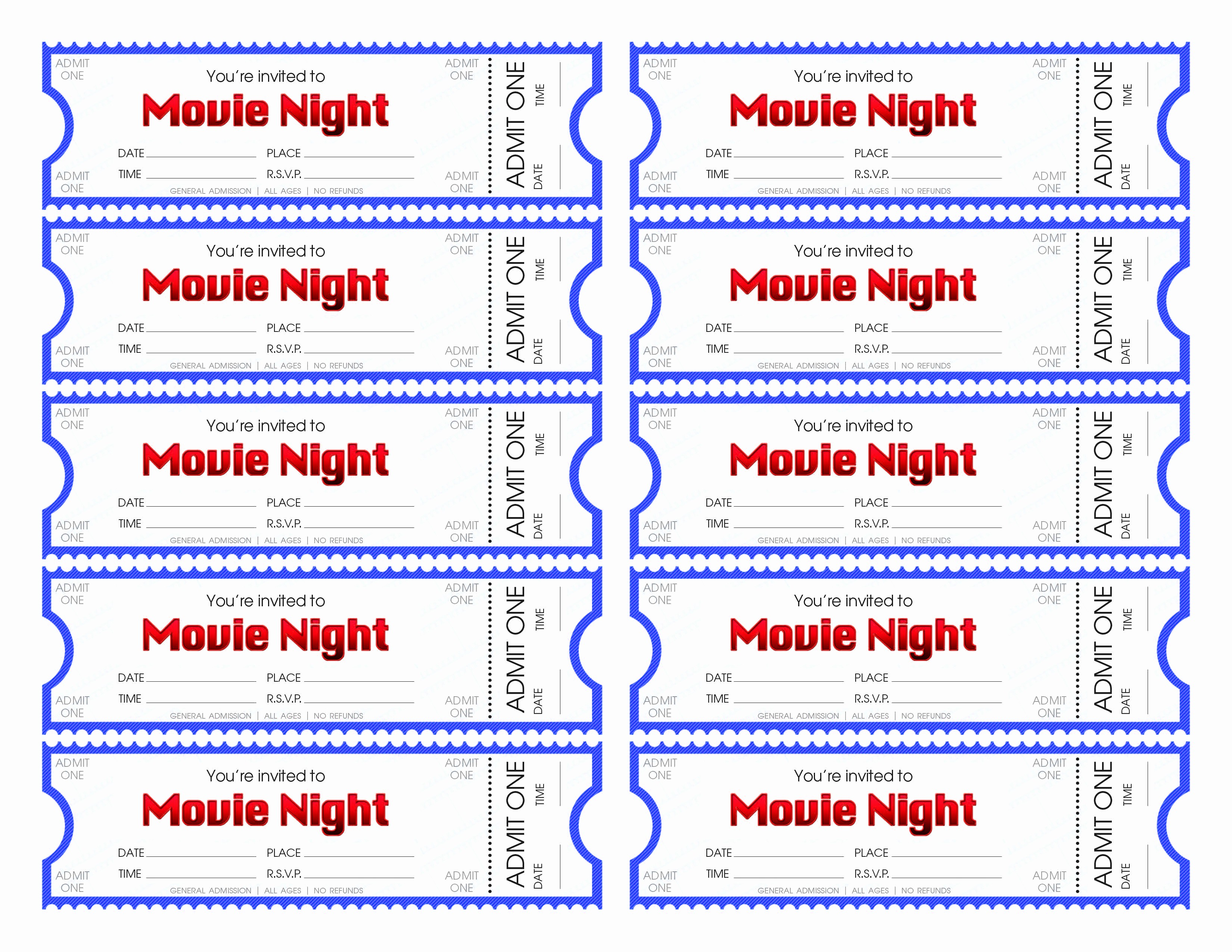 Movie Ticket Template Free Printable Inspirational Make Your Own Movie Night Tickets