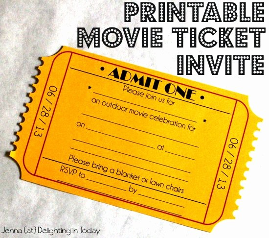 Movie Ticket Template Free Printable Luxury Free Printable Movie Ticket Invite Video Tutorial On