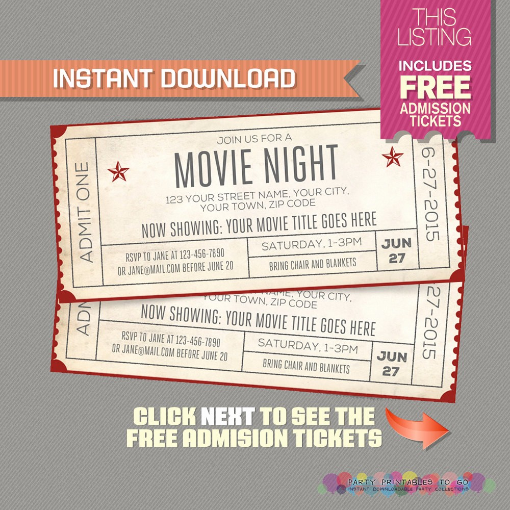 Movie Ticket Template Free Printable Luxury Template Movie Ticket Invitation Template