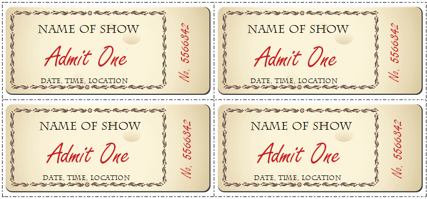 Movie Ticket Template Free Printable New 6 Ticket Templates for Word to Design Your Own Free Tickets