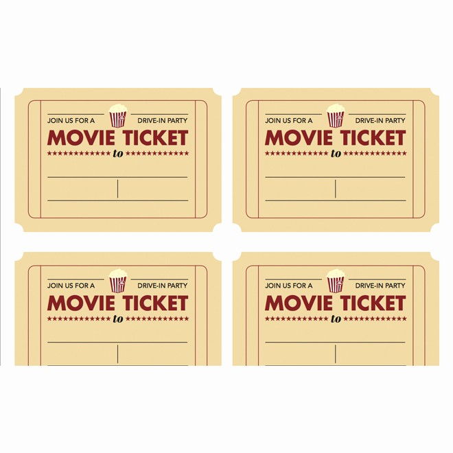 Movie Ticket Template Free Printable New 7 Best Of Free Printable Blank Movie Tickets Free