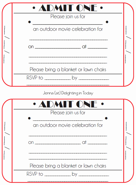 Movie Ticket Template Free Printable New 8 Best Of Free Printable Ticket Invitation Free