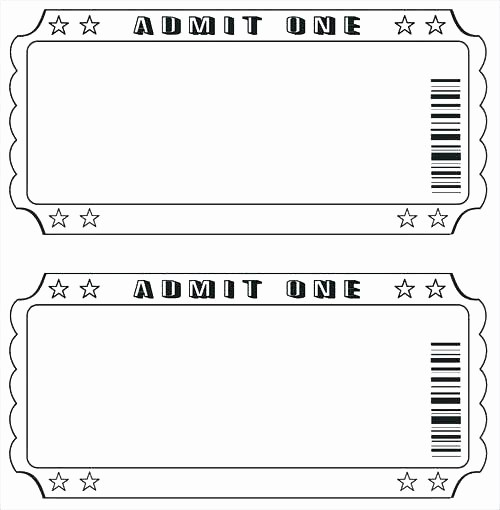 Movie Ticket Template Free Printable New Tickets Template Drawing at Free for Personal Use Raffle