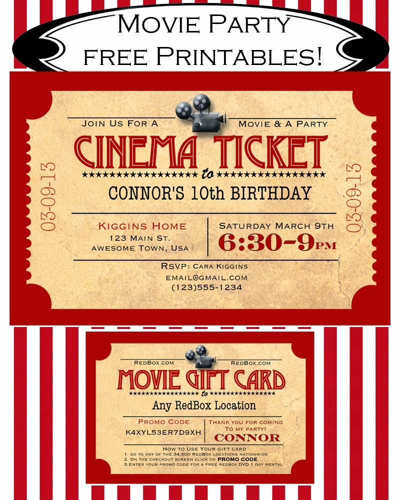 Movie Ticket Template Free Printable Unique Like Mom and Apple Pie A Summer Movies Free Printables