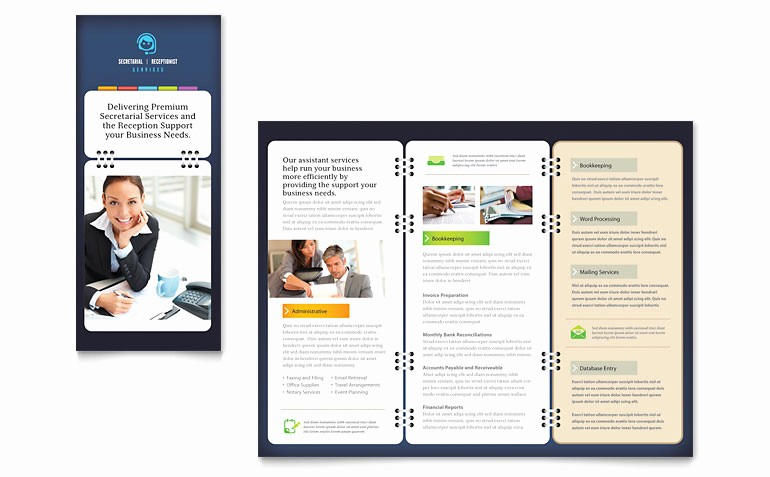 Ms Office Brochure Templates Free Unique Secretarial Services Tri Fold Brochure Template Word