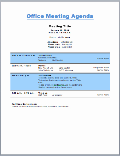 Ms Office Meeting Agenda Template Fresh Fice Meeting Agenda Template for Business Purpose