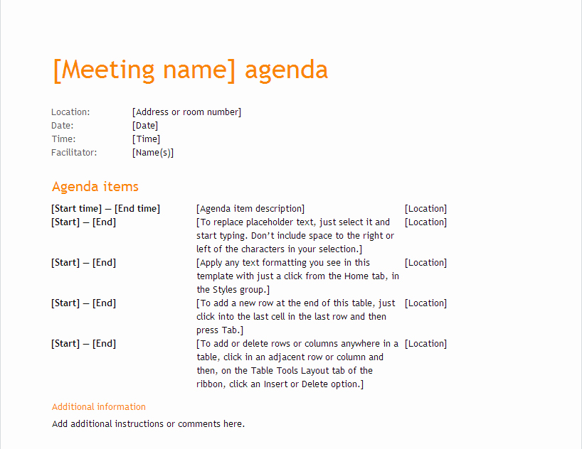 Ms Office Meeting Agenda Template Inspirational Meeting Minutes Template Word 2013