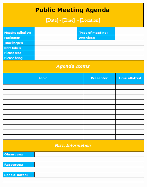 Ms Office Meeting Agenda Template Inspirational Public Meeting Agenda Template