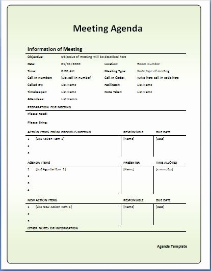 Ms Office Meeting Agenda Template Lovely 10 formally Used Agenda Templates