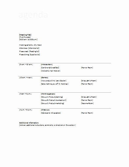 Ms Office Meeting Agenda Template Lovely Agenda Template for Business Meeting