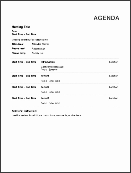 Ms Office Meeting Agenda Template New 6 Informal Meeting Agenda Template Sampletemplatess