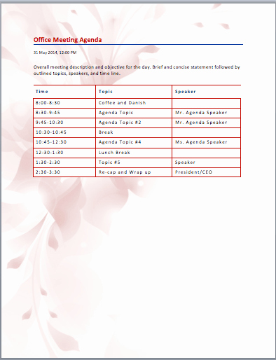 Ms Office Meeting Minutes Template Awesome General Purpose Fice Meeting Agenda Template