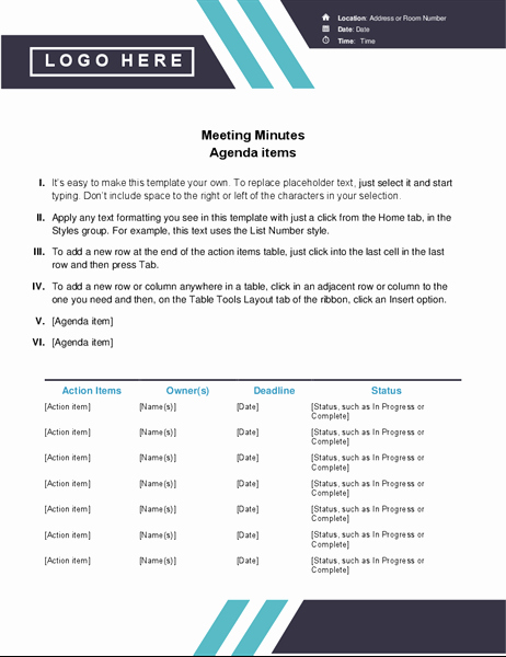 Ms Office Meeting Minutes Template Best Of Classic Meeting Minutes