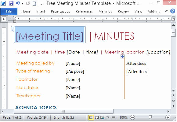 Ms Office Meeting Minutes Template Unique Free Meeting Minutes Template