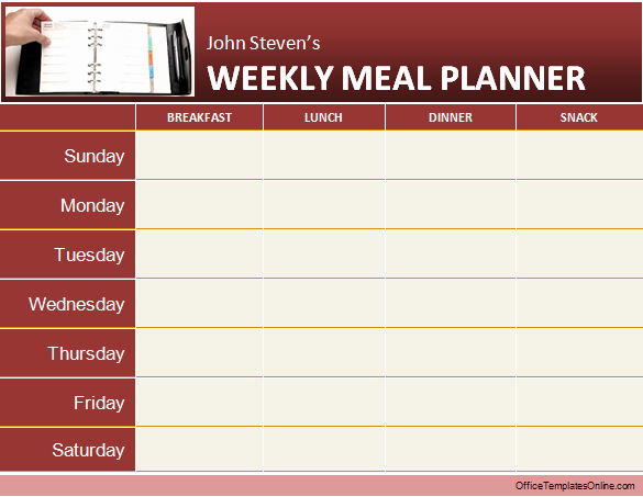Ms Office Templates for Word Elegant Meal Planner Template Word