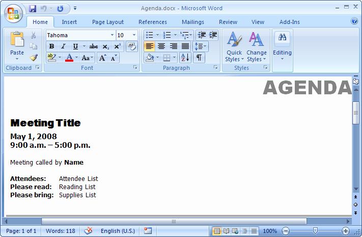create existing doc2007