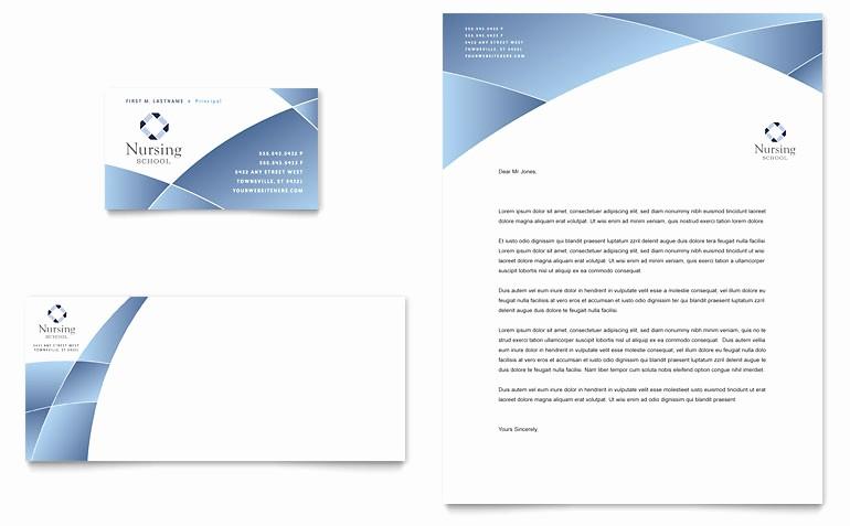 Ms Publisher Business Card Templates Elegant Nursing School Hospital Business Card & Letterhead