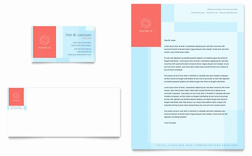 Ms Publisher Business Card Templates Fresh Munications Pany Business Card & Letterhead Template