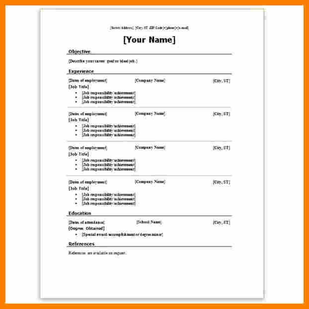 Ms Word 2007 Resume Templates Unique 7 Resume Template Word 2007