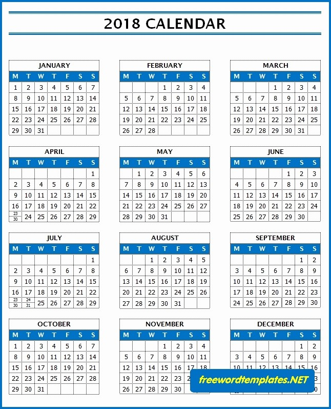 Ms Word Calendar Template 2018 Awesome 2018 Calendars