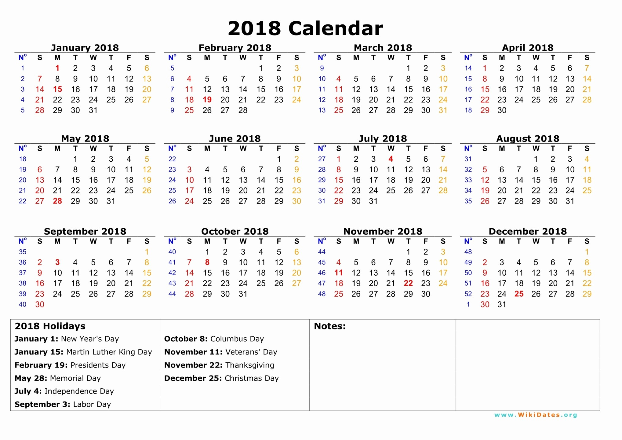 Ms Word Calendar Template 2018 Awesome 2018 Printable Calendar Word