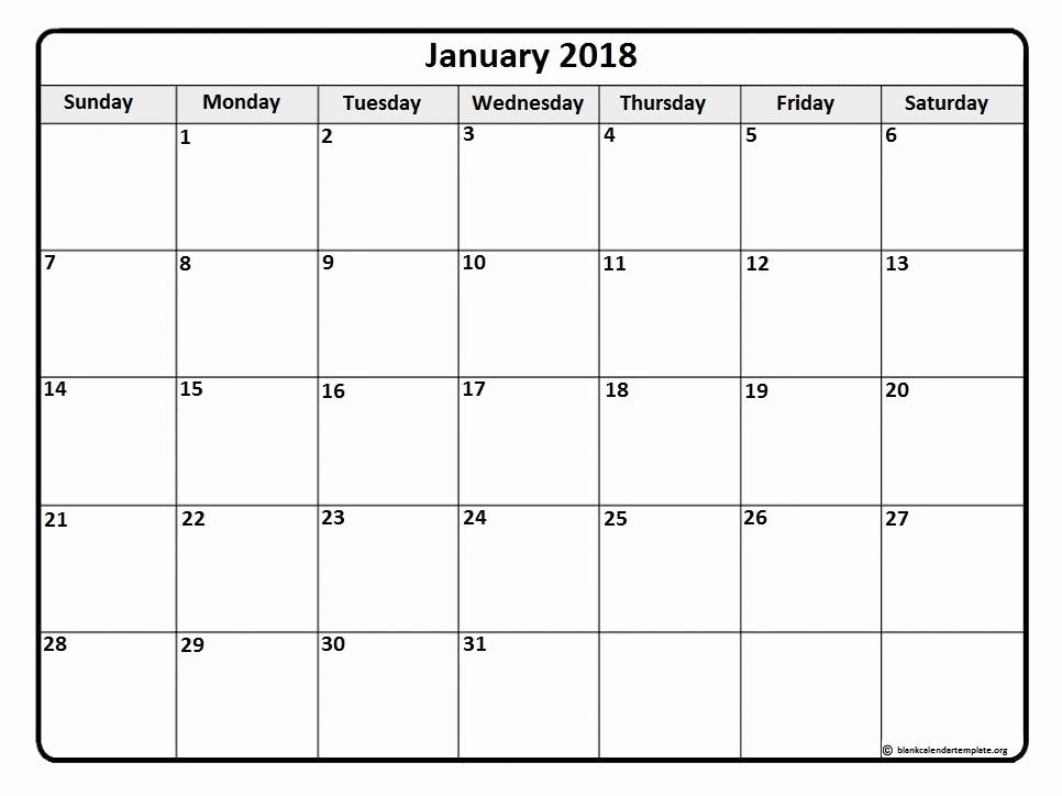 Ms Word Calendar Template 2018 Awesome January 2018 Calendar Template
