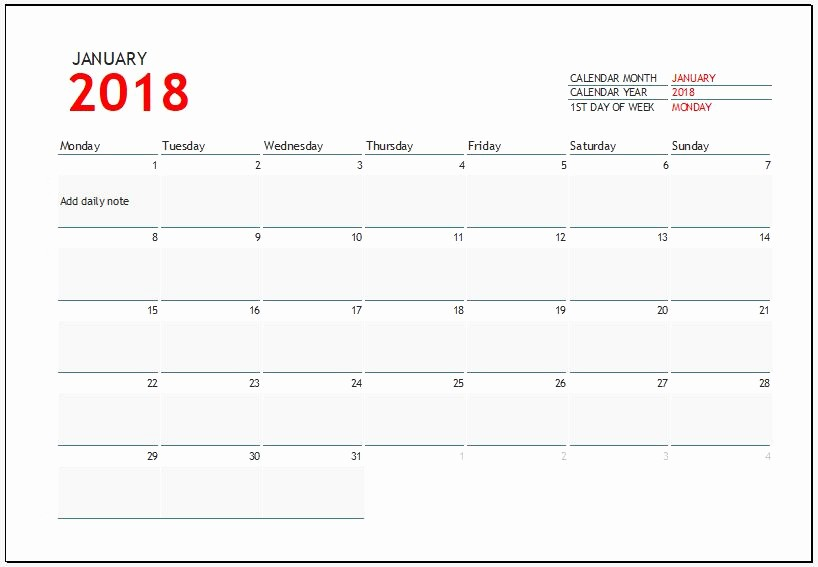 Ms Word Calendar Template 2018 Best Of 2018 Calendar Templates for Ms Excel