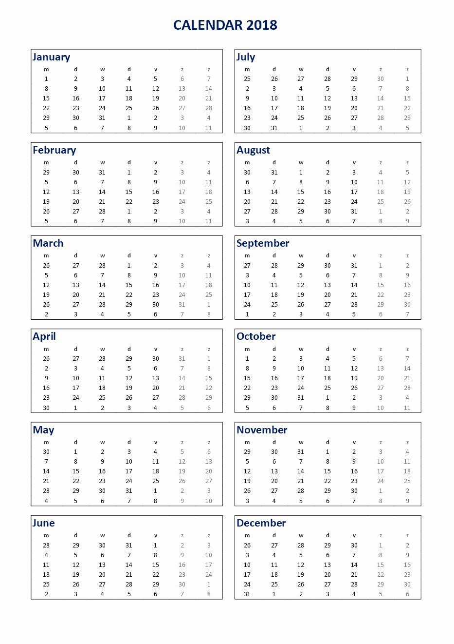 Ms Word Calendar Template 2018 Elegant Free 2018 Printable Calendar 2018 Ms Word Template