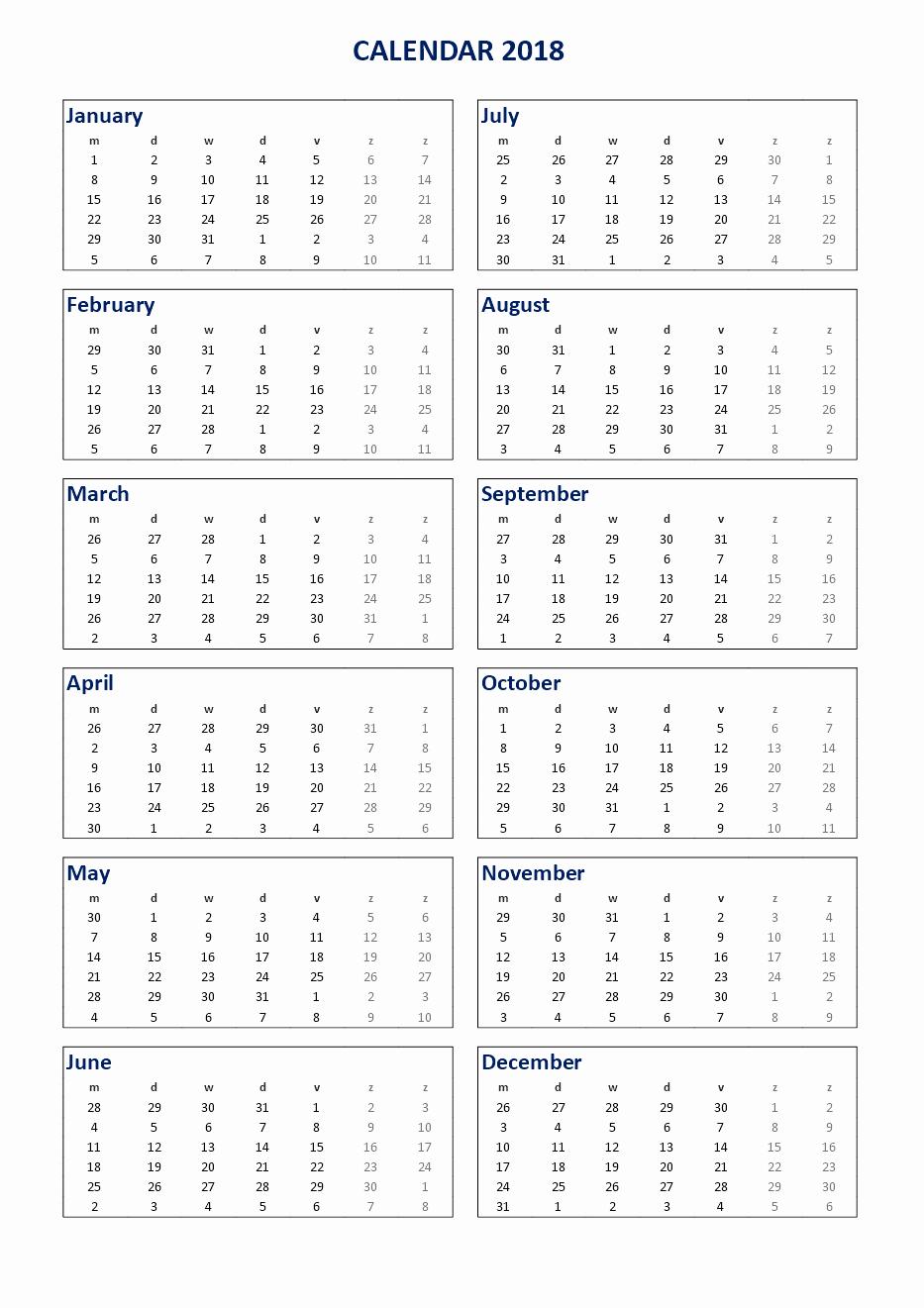 Ms Word Calendar Template 2018 Elegant Free 2018 Printable Calendar 2018 Ms Word Template
