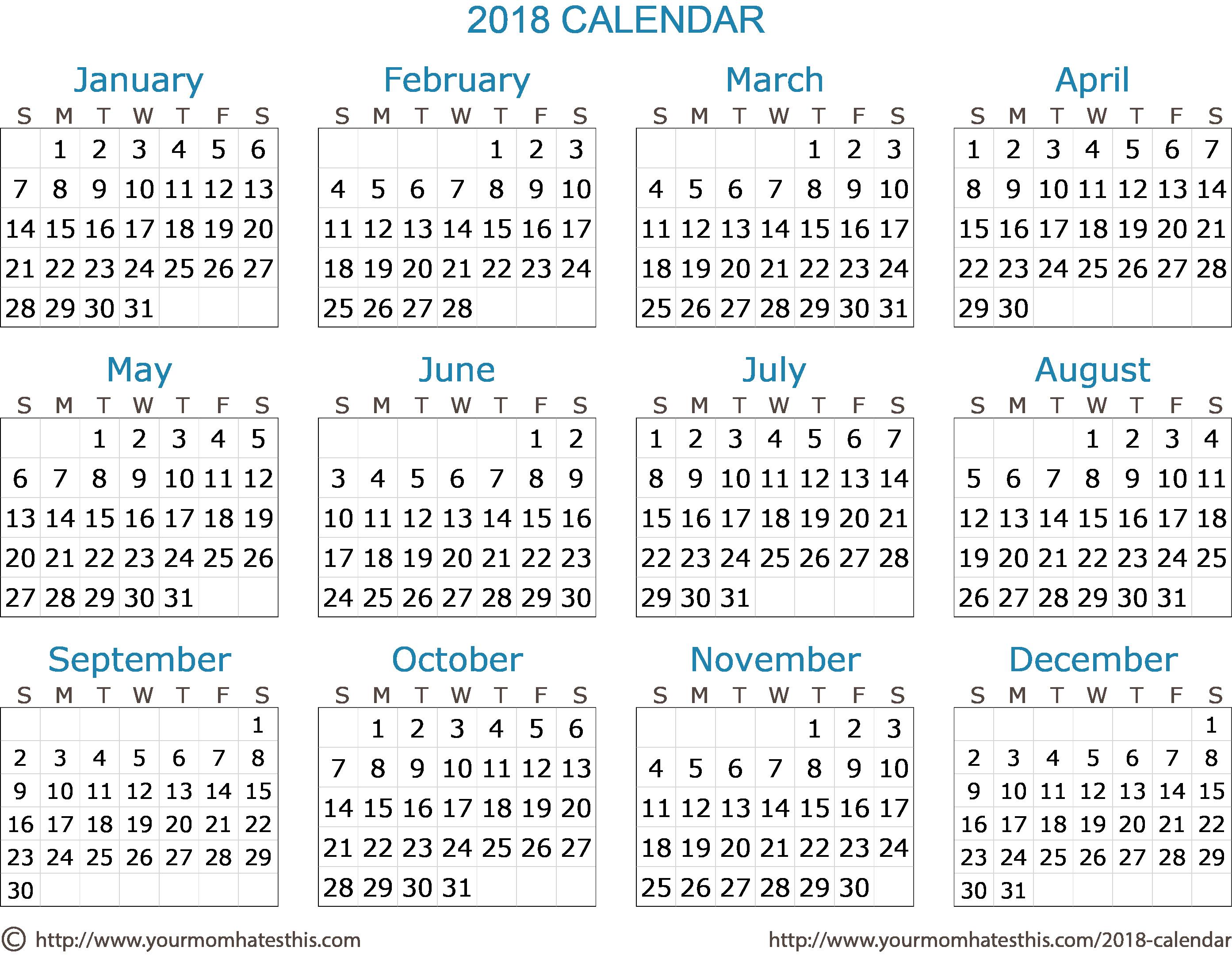 Ms Word Calendar Template 2018 Fresh 2018 Calendar – Download Quality Calendars