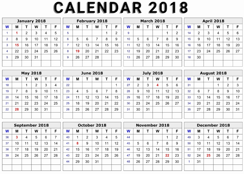 Ms Word Calendar Template 2018 Fresh Printable Calendar 2018 Word Document format