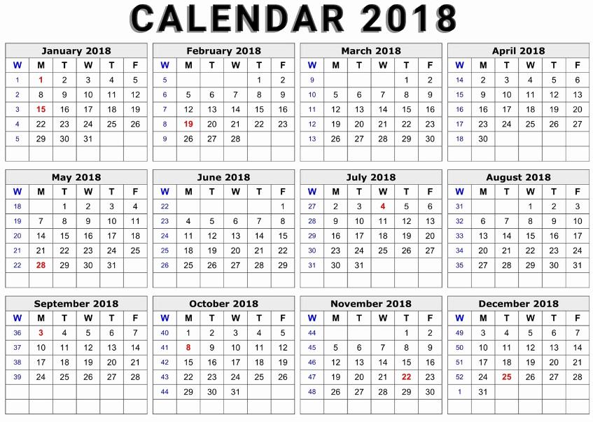 Ms Word Calendar Template 2018 Fresh Printable Calendar 2018 Word Document format